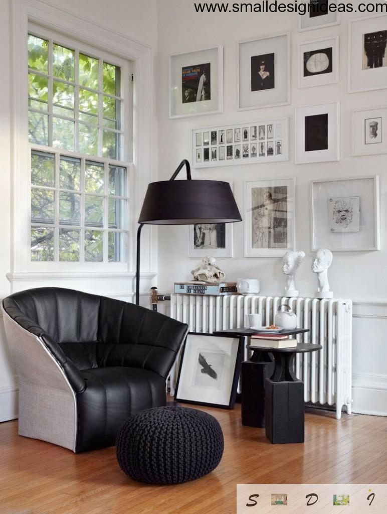 Contrasting eclectic living room interior of black and white colors