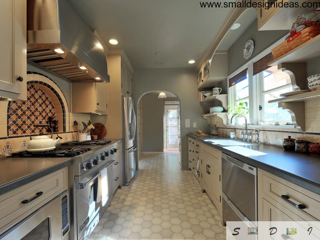 gray and white color theme for contemporary galley kitchen with spotlights and U-shaped furniture layout