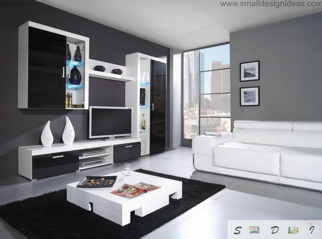 Modern hi-tech minimalstic urban interior of the black and white living room design