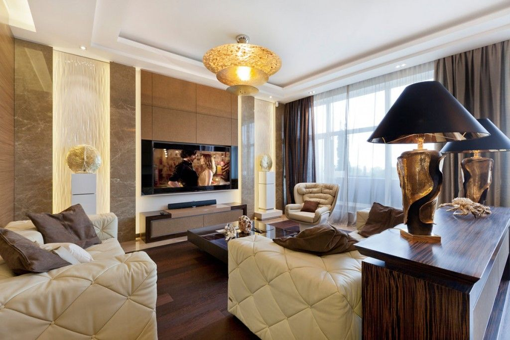 Unique Design For The Creamy Toned Art Deco Living Room With Lamps