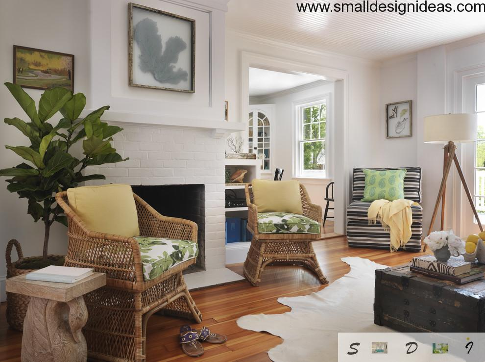 Eco style implies rattan furniture, natural materials of the carpet and light tones of finishing