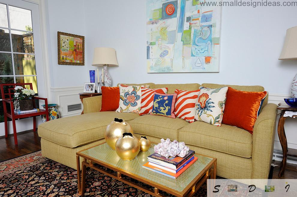 Nice cozy multicolored furniture in the living room