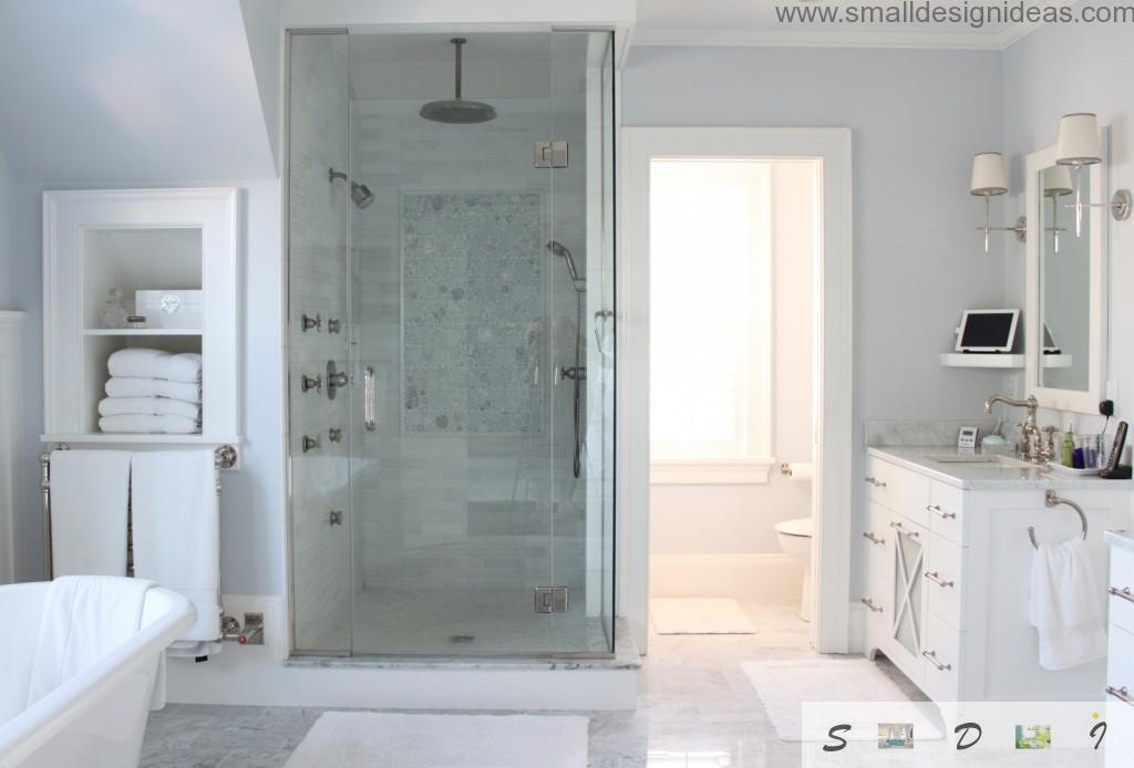Master bath design ideas for white adn granite decorated bathroom