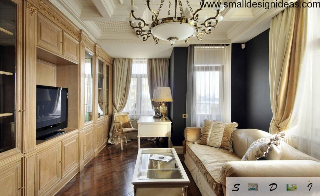Classic Stalin`s empire style with wooden monolith furniture and massive bronze chandelier