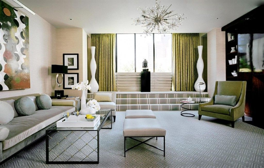 Bold green and pastel mix of colors in the Art Deco living room