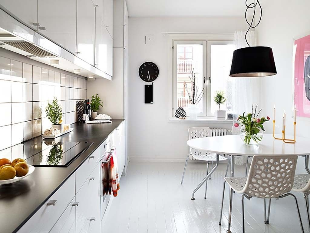 White and eco modern kitchen in the minimalistic style is the best option for small kitchens