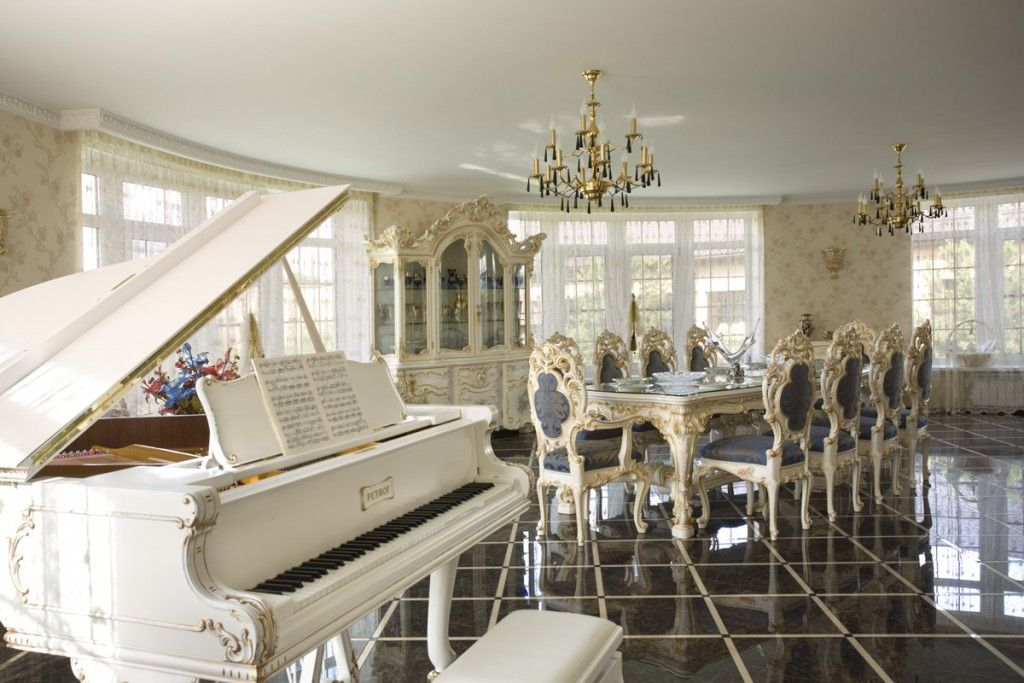 Baroque living room with dining area and piano for distinguished guests