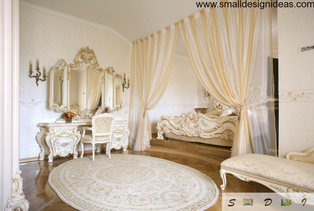 Cute neat boudoir with the nightstand, peculiar carpet and gilded curtain