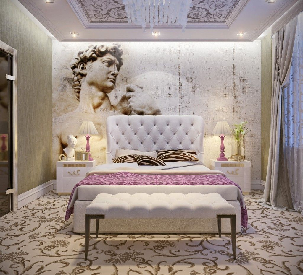 Art Deco bedroom with the medieval fresco of the Octavian August