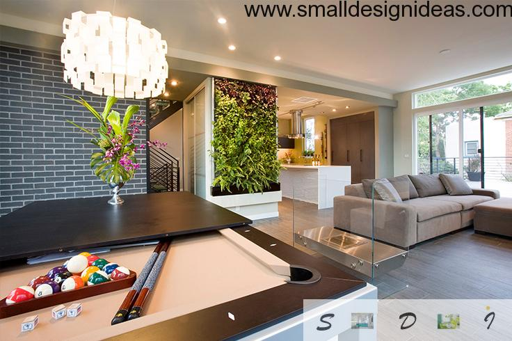 Wood and billiard at the ecological design of spacious living room