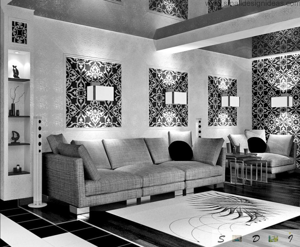 Minimalistic design in black and white themed the living room with ornamentations on the waals