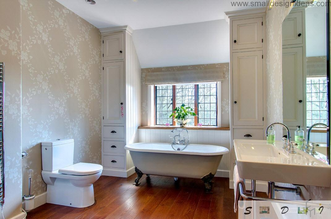 contrasting wooden floow in white bathroom with classical form of a bathtub