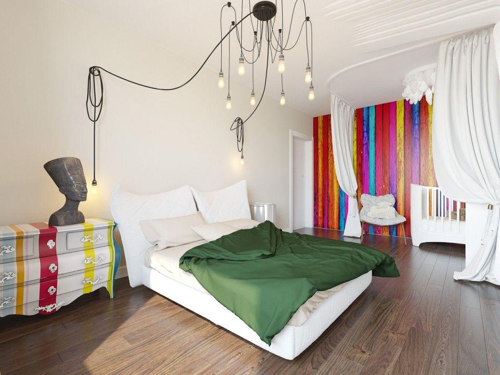 Yatak odasında aydınlık ve etkileyici eklektik tasarım