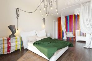 Bright and expressive eclectic design in the bedroom