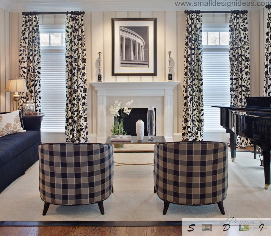 Nice black and white living room ideas in classic style