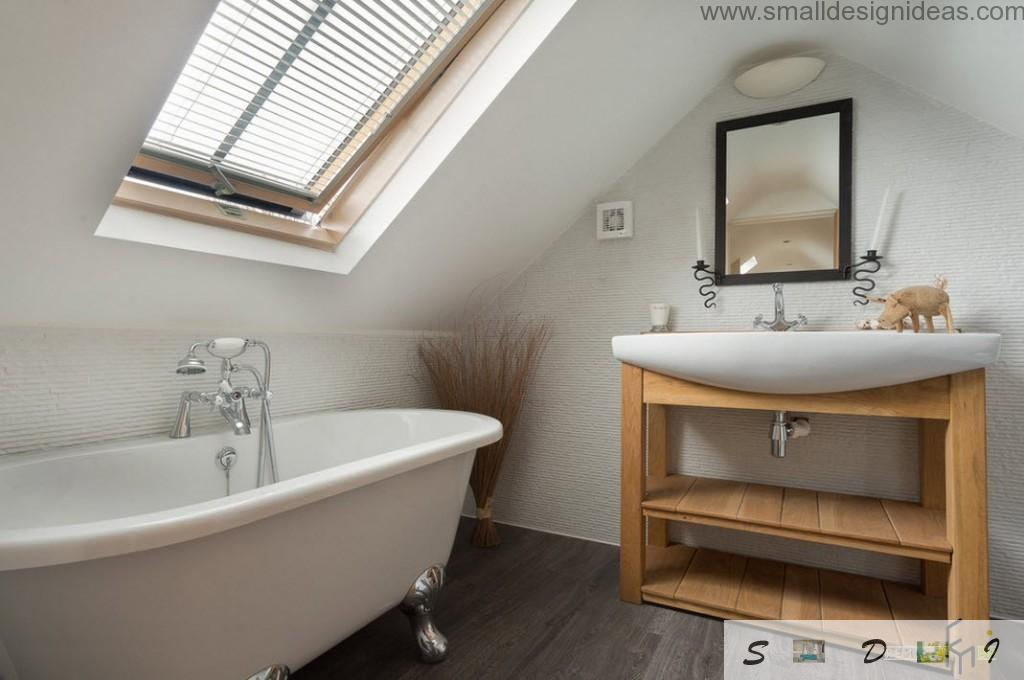 Classic bathroom design ideas. Wooden furniure in the classic bathroom with vaulted ceiling