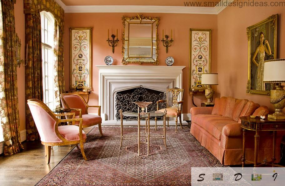 Living room colors on the nild pink textile in the discreet Victorian classic style