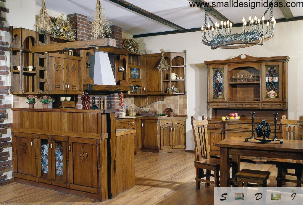 Nice classic interior design in the country styled kitchen full of wood