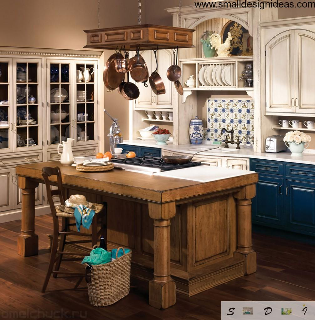 Russian style country kitchen with massive wooden table and white painted working area