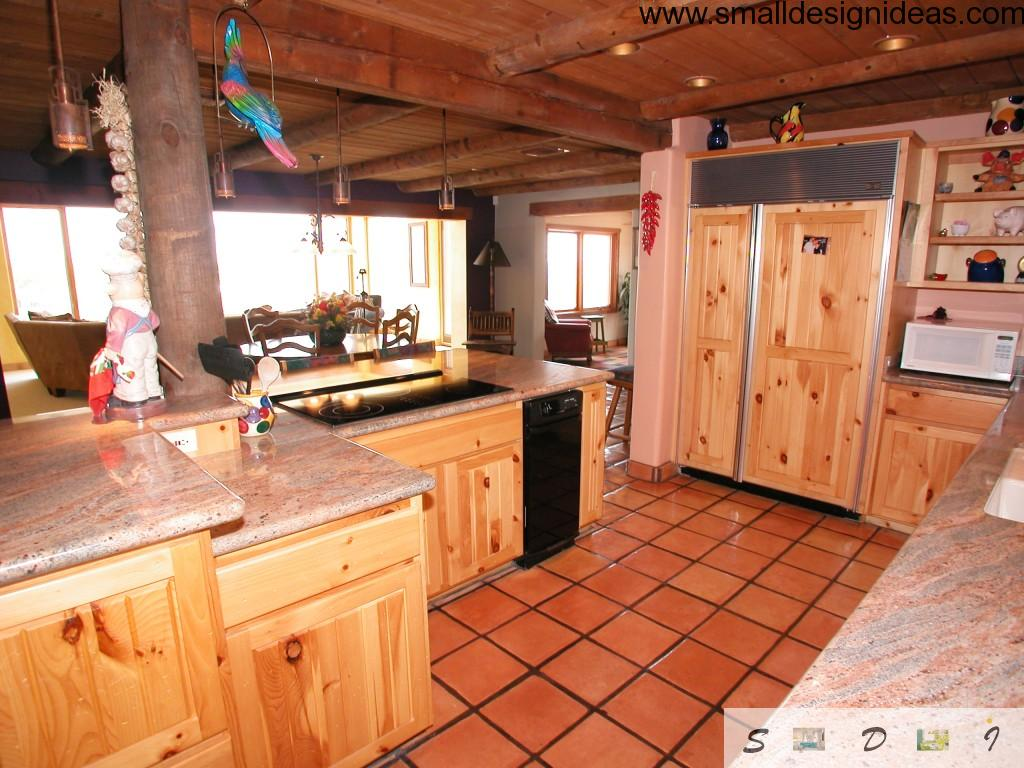 Orange ceramic tile and natural solid wood makes Country Kitchen Design looks very attractive