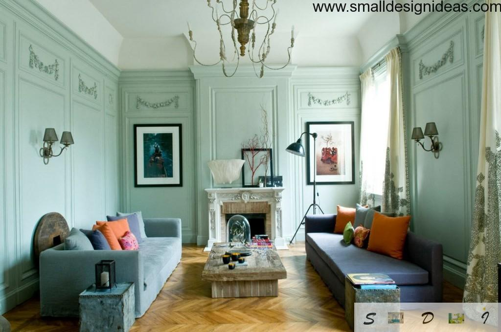 combination of eclecticism with noeclassic in a living room interior