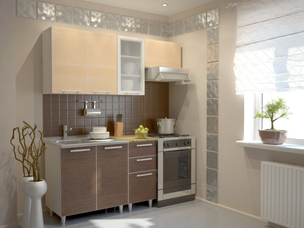Wjite creamy colored kitchen with all necessary appliances and wide window