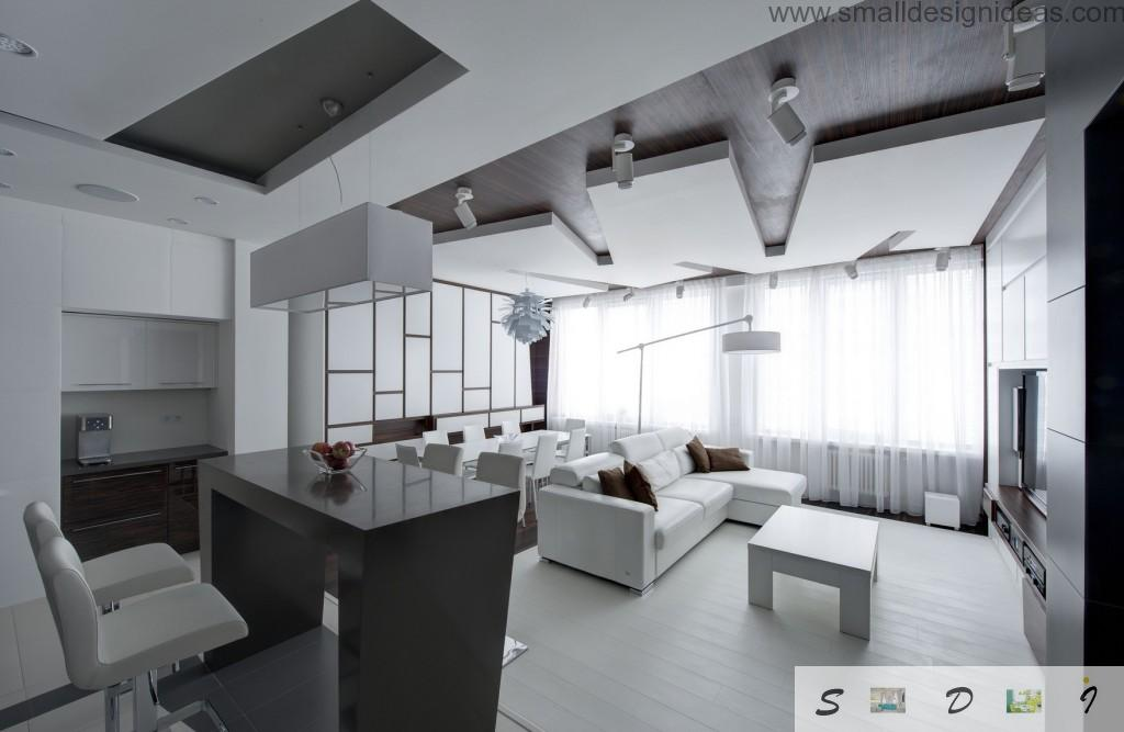 unusual and peculiar floor-like ceiling construction in the black and white living room interior