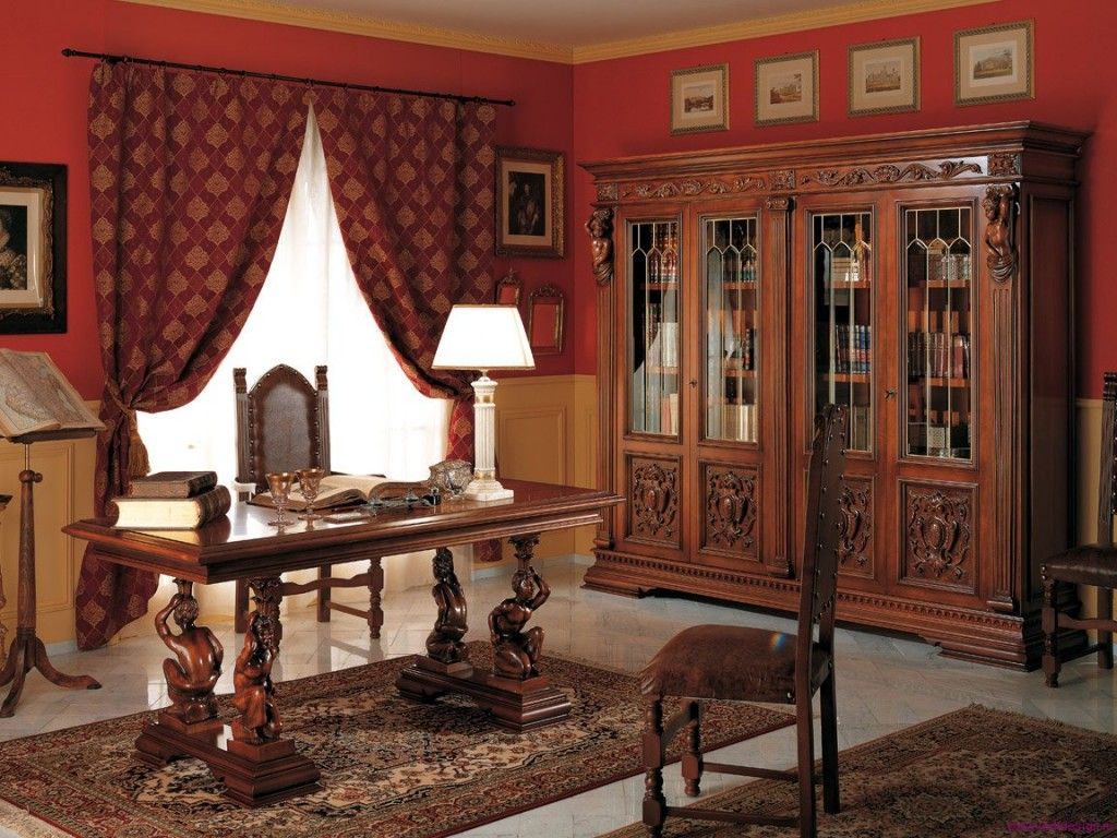 Study room in dark wooden colors and red curtains at the wide windows. Real office for solid businessman
