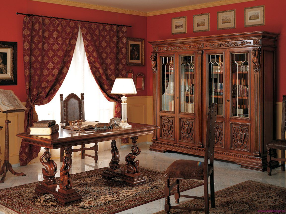 Study Room In Dark Wooden Colors And Red Curtains At The Wide Windows Real Office Renaissance Interior