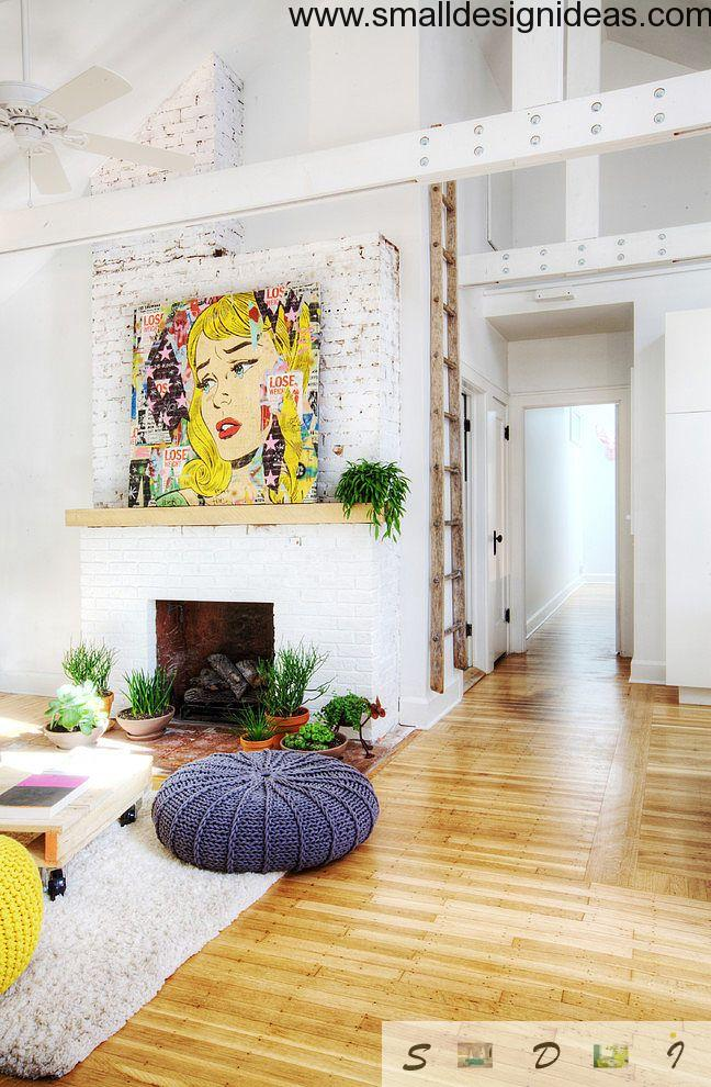 White and wooden eclectic interior of the free spacious living room with impressionistic interior