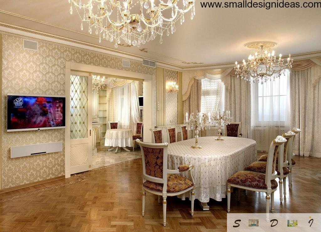 Luxurious and pumpous dining room in the classical concept of the Empire style