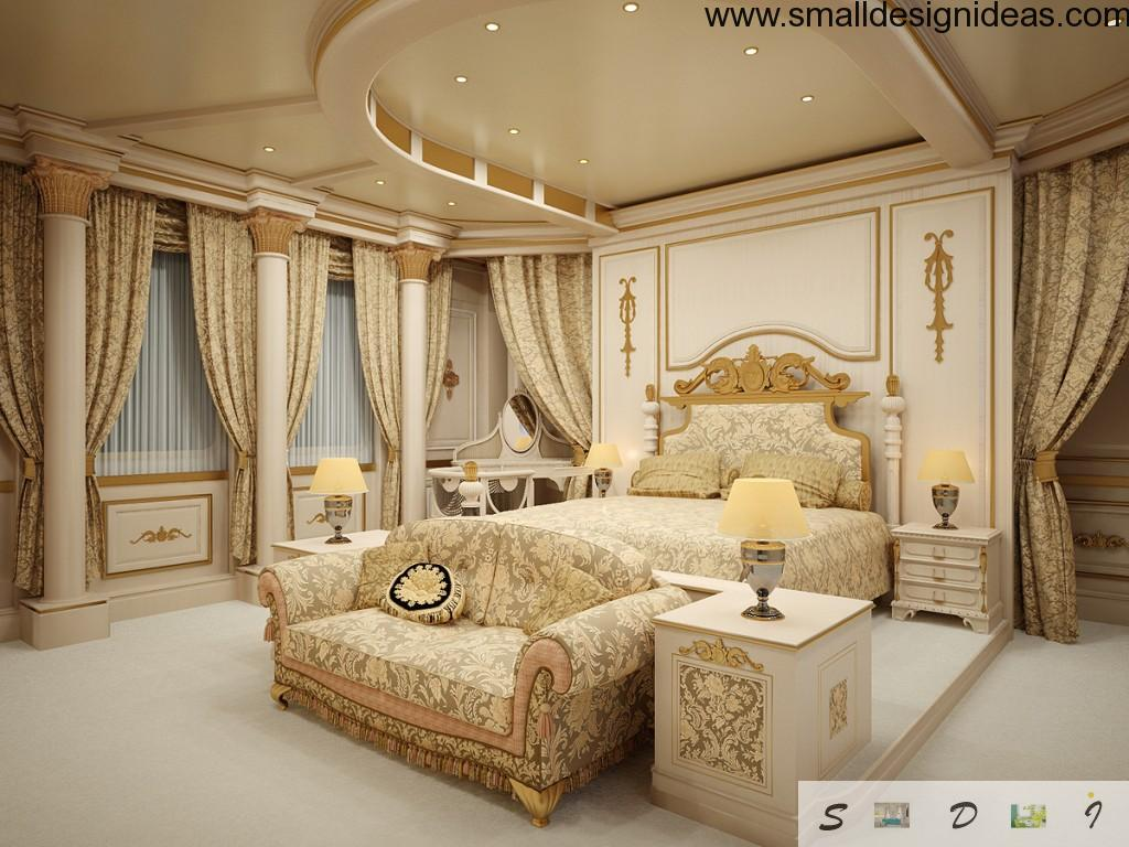 Chic bedroom in Empire style with painted and stylized furniture, trimmed suspended ceiling and gilded paints at the walls