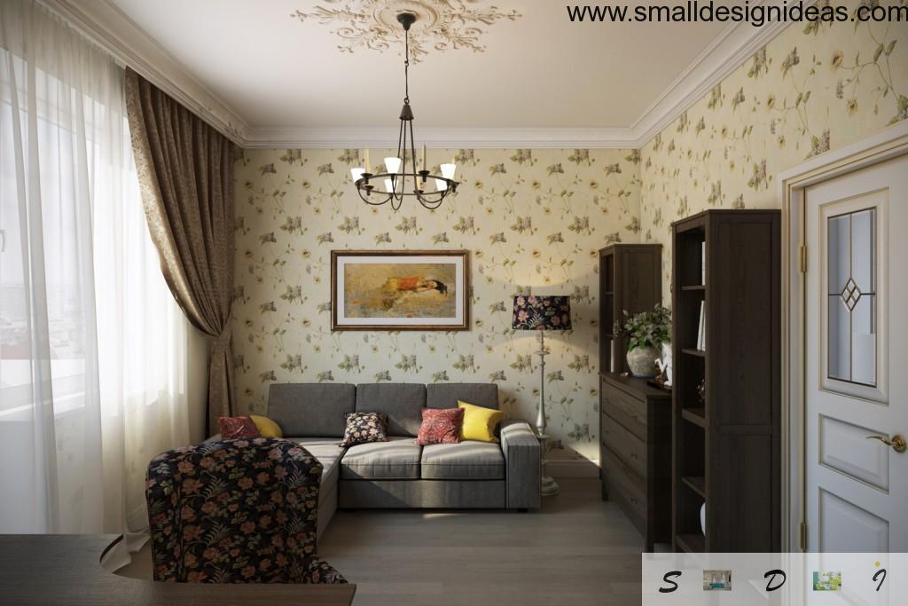 Modest discreet contemporary design of the living room in Stalin`s Empire style