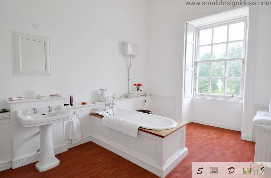 Unique bathtub design in the classic white bathroom