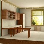 Ascetic kitchen in Japanese interior style