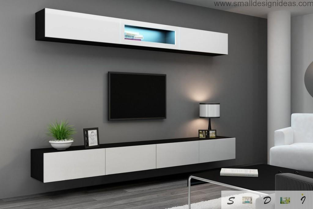 Hi-tech contrasting wall in the living room with built-in electronics