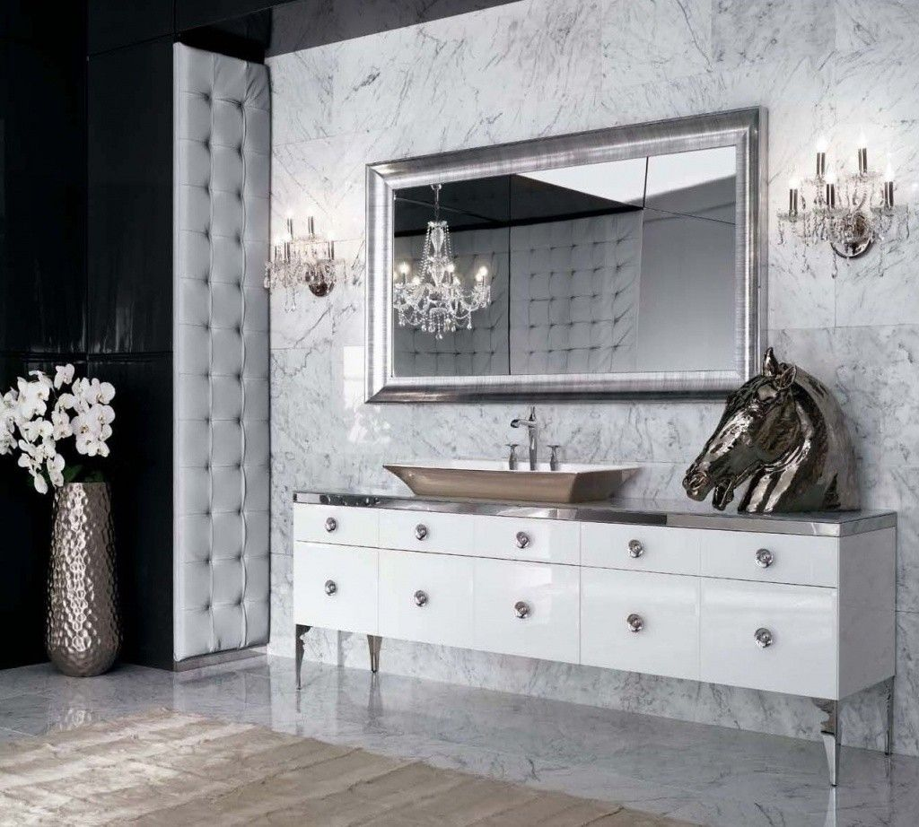 Unusual and even extravagant bathroom in the Art Deco style