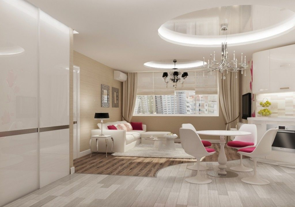 Projection of the modern and nice art deco kitchen in white colors