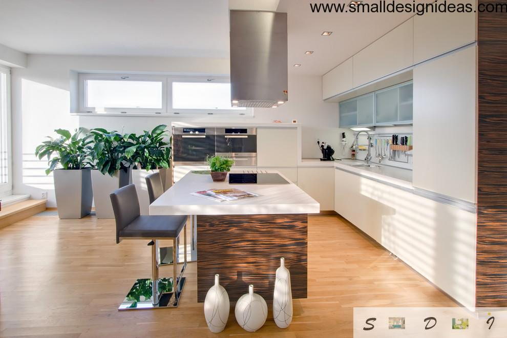 Green kitchen with white furniture and island countertop withoriginal gray chairs