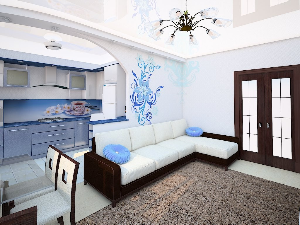 Kitchen-living-room premises in the white and blue colors with dining, cooking and resting zones