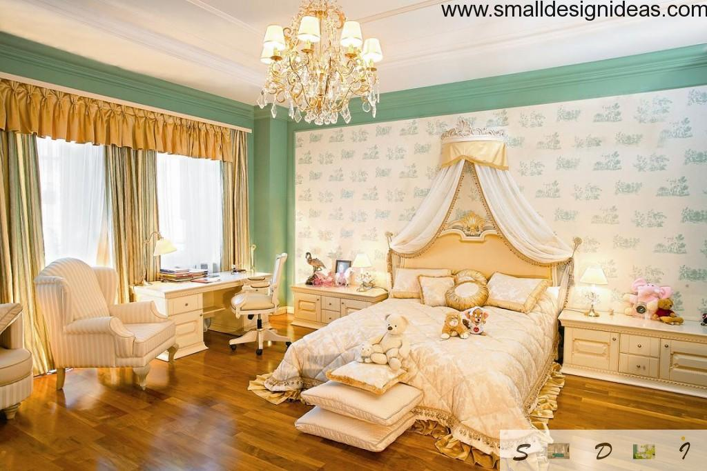 Nice modern children`s bedroom and study room in one. Lots of gold, ancient chandуlier, pastel colors and wallpaper with print