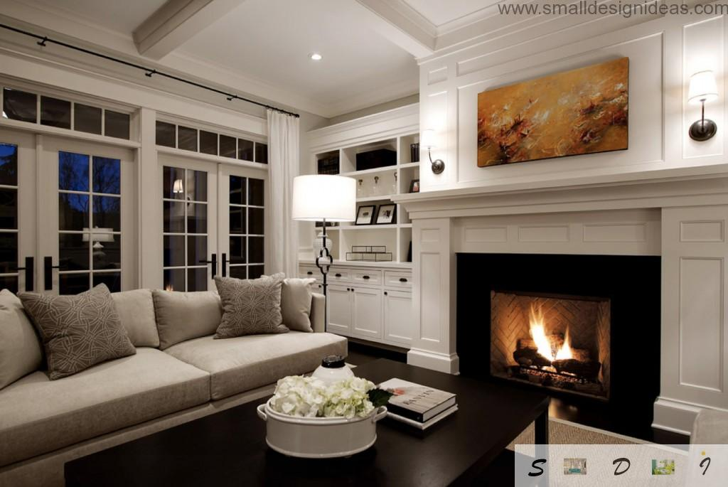 Fireplace in the calssic contemporary living room