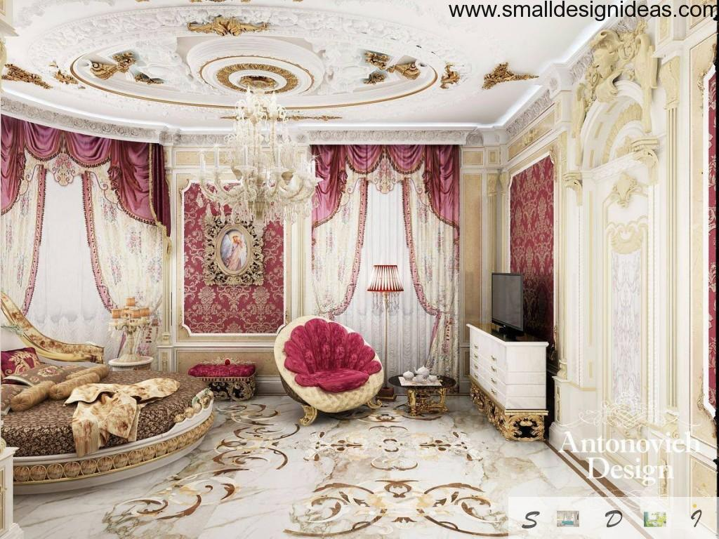 Nice furniture set with velvety aspid pink textile and lots of decorative elements in Rococo style