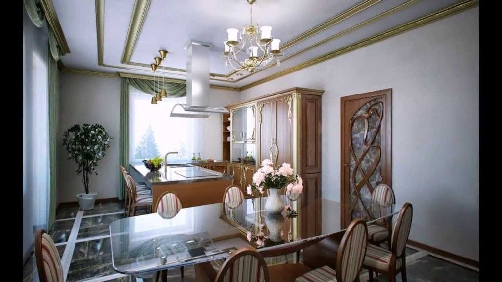 Spacious kitchen with the dining zone in the Art Nouveau style