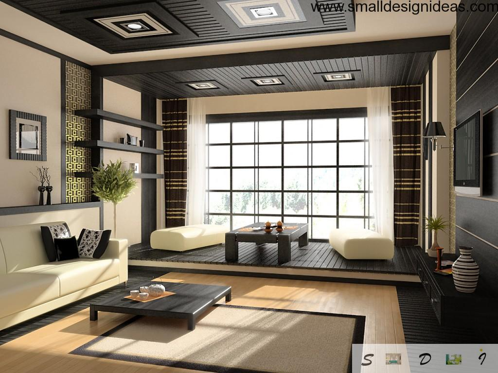 Japanese traditional interior decoration of the spaious light living room with dark contrasting elements and natural plant