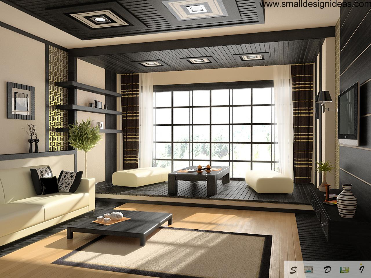 Japanese Traditional Interior Decoration Of The Spaious Light Living Room With Dark Contrasting Elements And Natural