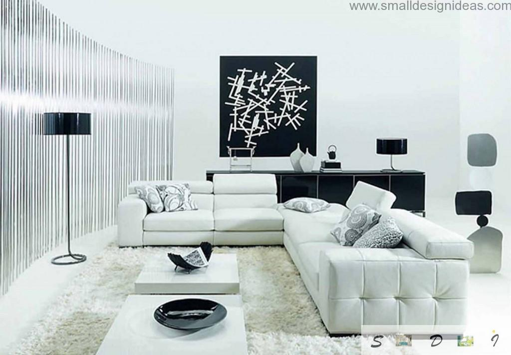 White furniture in black and white interior of the living room with wall expressionism