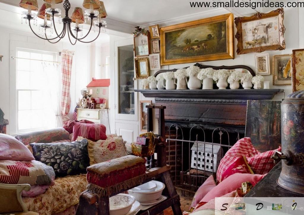 A very big pile of antique and designer things within eclectic living room design with a row of flowers ornamentation of the fireplace