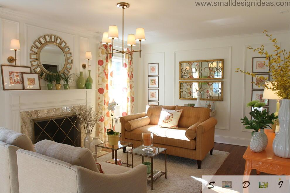 Stylish retro styled small living room full of light