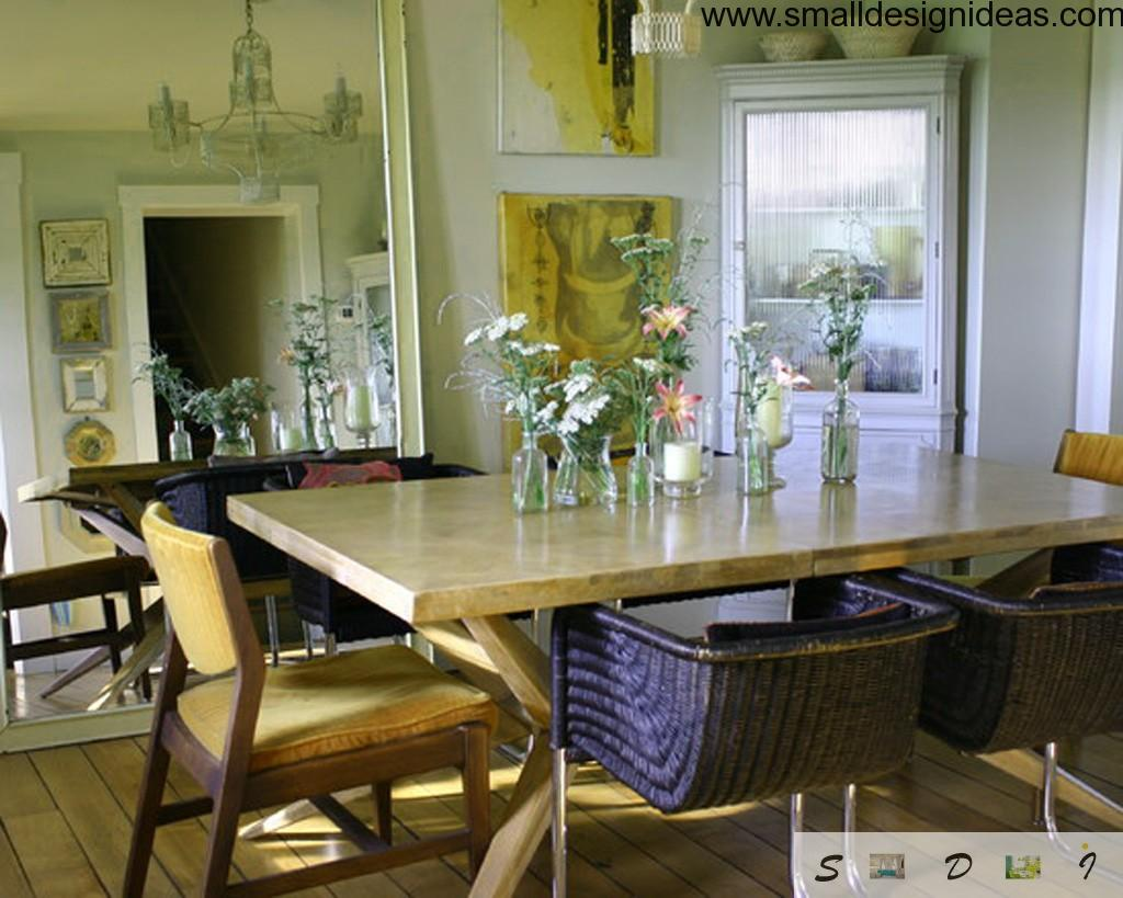 Ecodesign Interior Design Style in the townhouse with flowers and antique chairs